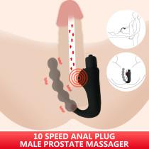 10 Speed Anal Plug Prostate Massager Anal Beads Vibrator