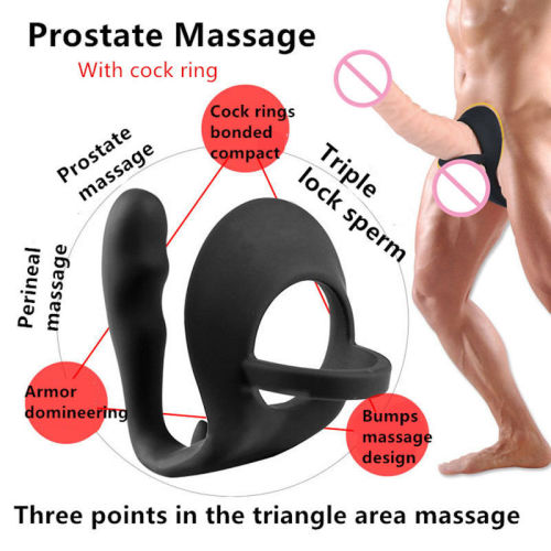 Silicone Prostate Massager P Spot Butt Plug Cock Ring