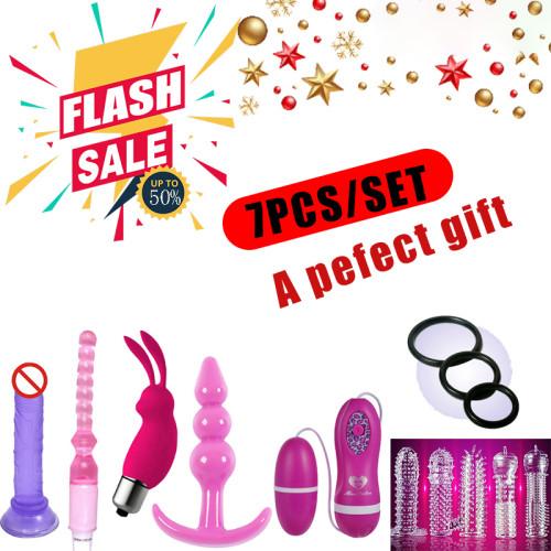 7PCS/SET Vibrating Anal Butt Plug Beads Vibrator Dildo Penis Ring Adult Sex Toy
