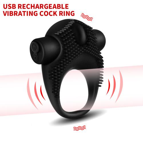 10 Speed Vibrating Cock Ring USB Rechargeable Penis Ring Vibrator Last Longer