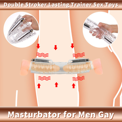 Masturbator for Men Gay Masturbation Cup Double Stroker Lasting Trainer Sex Toys