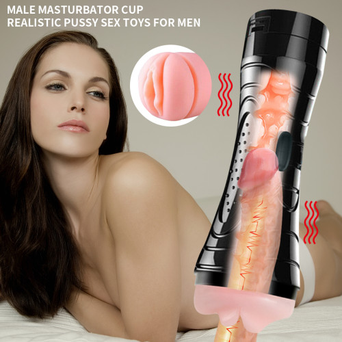 Male Masturbator Cup Multi-speed Realistic Pussy Ass Vibrator Sex Toys for Men