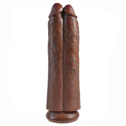 King Cock Two Cocks One Hole 11 Inch Brown Dildo
