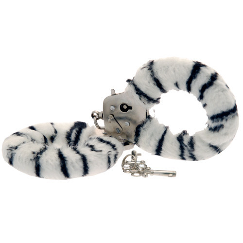 Toy Joy Furry Fun Hand Cuffs Zebra Plush