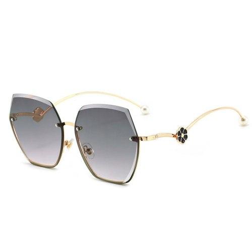 Men Sunglases Hexagon Sun glasses NEW Women Metal Frame Fishing Glasses Gold tea Eyewear  Retro Summer Style Sun Glasses