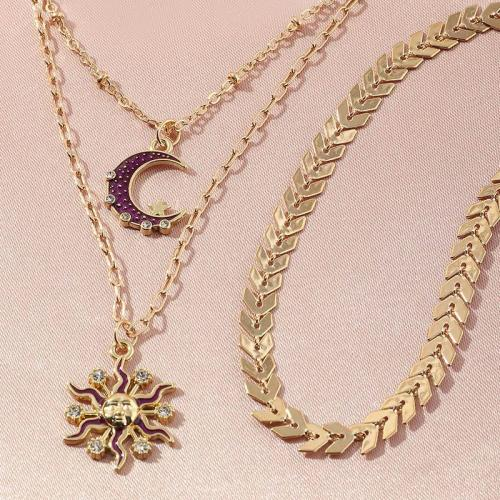 Vintage Crystal Sun Moon Necklace