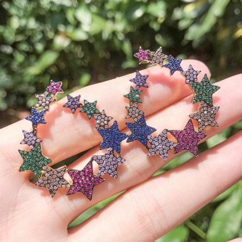 Pentagram Colored Gem Earrings
