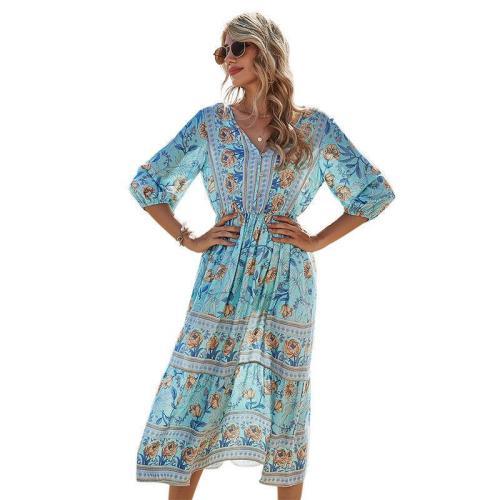 V-neck High Waist Print Dress