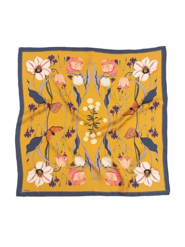 Chowxiaodou 16 Momme Tulip Silk Twill Small Square Scarf 65*65