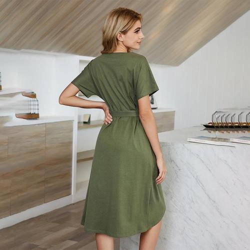 Irregular Short-sleeved Round Neck Skirt