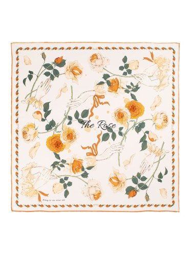 Chowxiaodou Rose Silk Satin Small Square Scarf 65*65