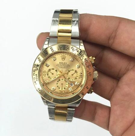 NEW Hot high quality Rolex Mens Womens Quartz Watch Fashion Gift Gold Casual Waterproof Watches 6858  Orders