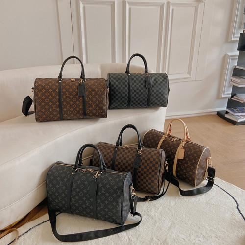 LV Luxury Brand Travel Bag Men Women Classic PU Leather luggage bag female portable large capacity lightweight travel fitness bag