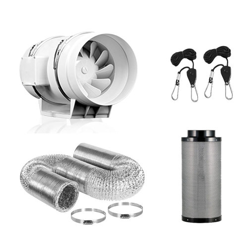 4/6/8 Inch Grow Tent Odor Control Scrubber activate air fan carbon filter kits with Australia Activated Carbon
