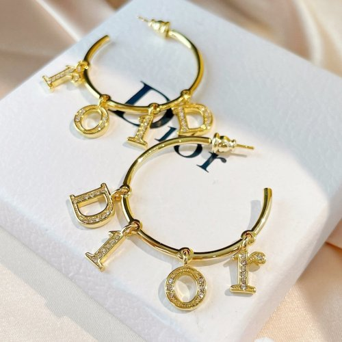 Vintage letters hook earrings