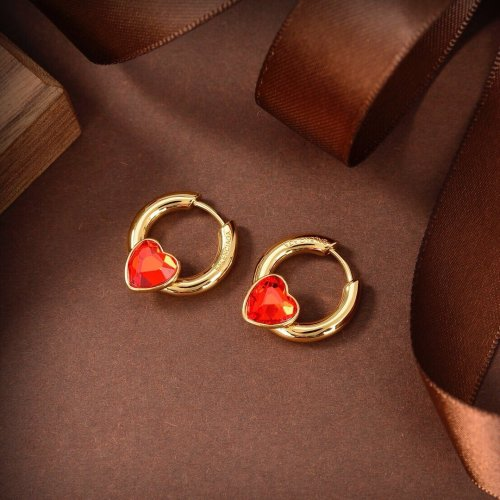 New red heart circle earrings
