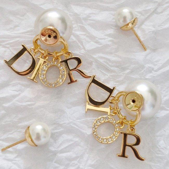 Diamond letter pearl earrings