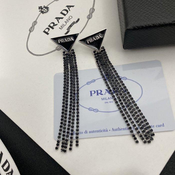 Triangle long tassel earrings