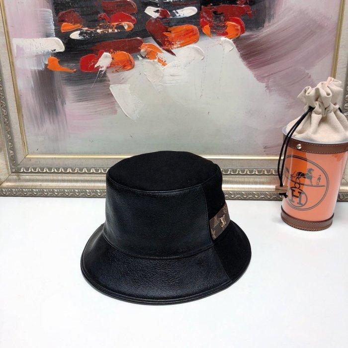 Autumn new leather stitching bucket hat