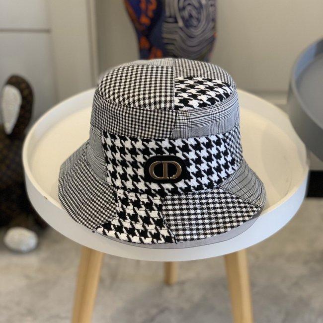 Houndstooth stitching bucket hat