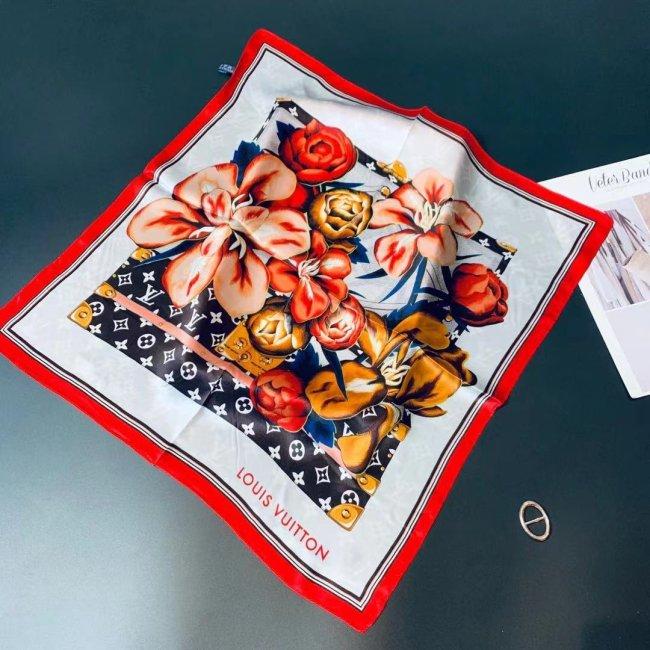 Square flower silk scarf