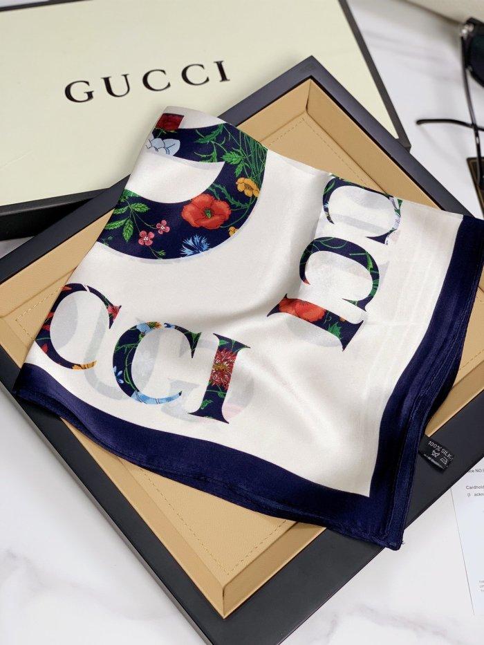 Classic square pattern silk scarf