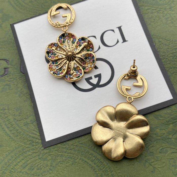 Multicolored rhinestone flower earrings