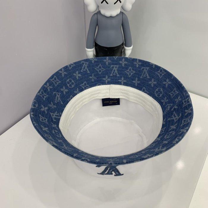 Stitching washed denim embroidered bucket hat