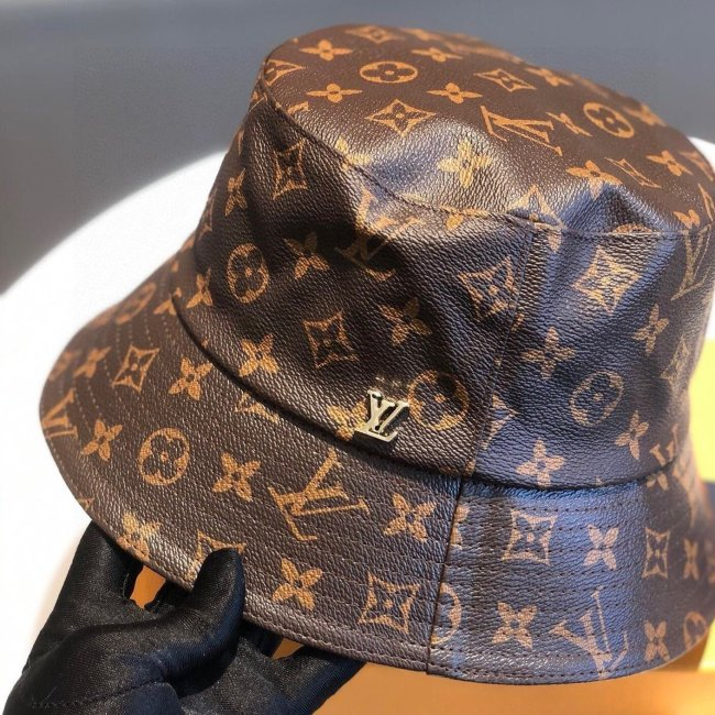 Classic all-match leather print bucket hat