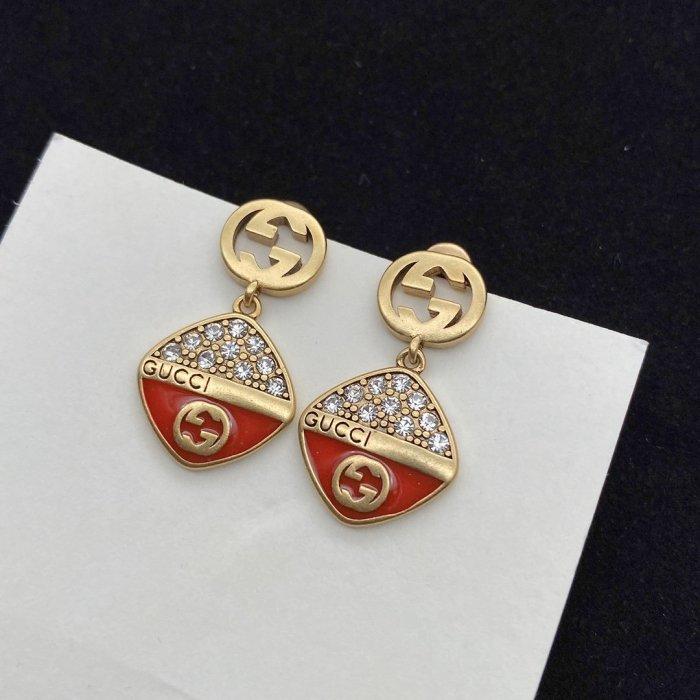 Enamel rhinestone earrings