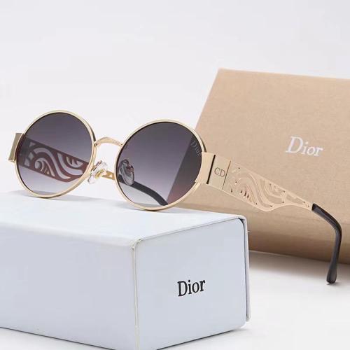 Hollow round frame D gradient sunglasses