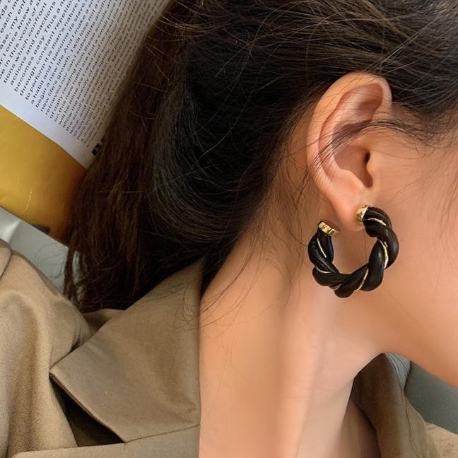 Cowhide twist earrings