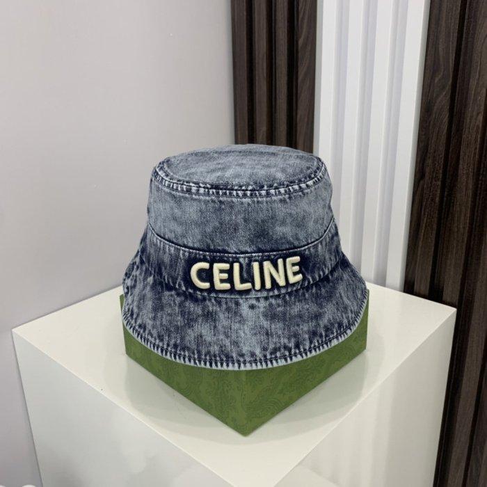 Denim wash embroidery bucket hat