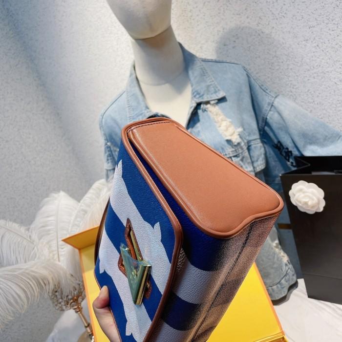 Twist Denim Medium Crossbody Bag
