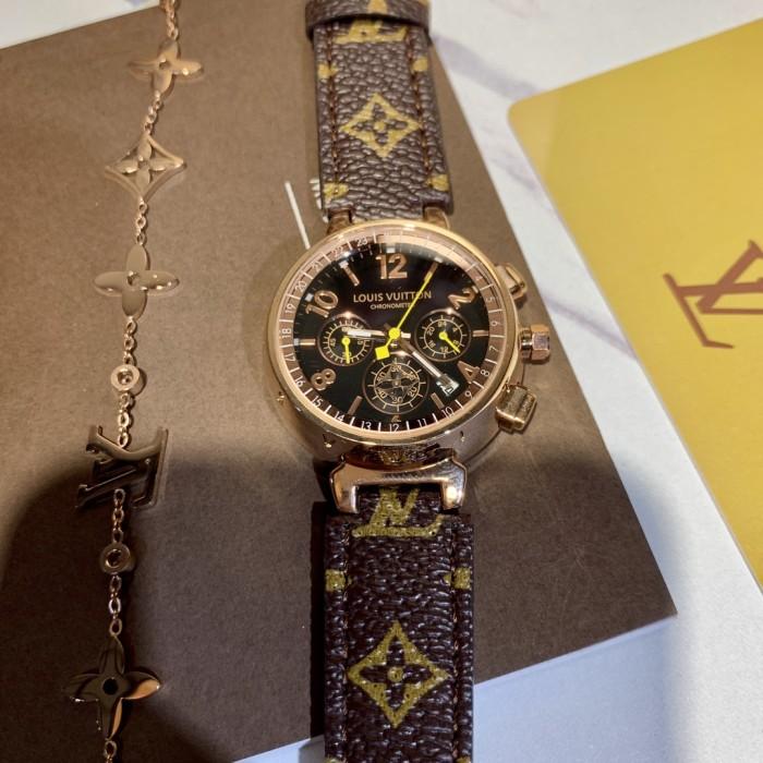 Printed Leather Strap Bracelet Watch Set