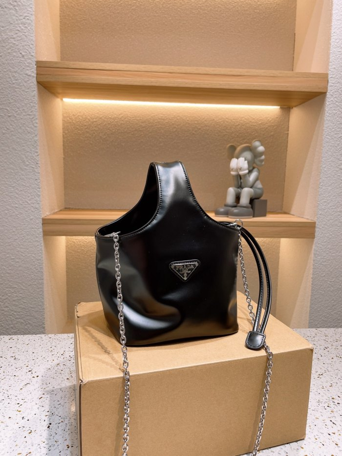 Leather Nylon Chain Bag