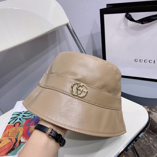 Simple Solid Color Leather Bucket Hat