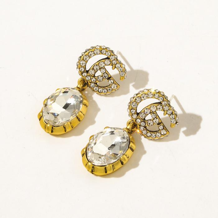 Jewel Letter Earrings With Diamonds