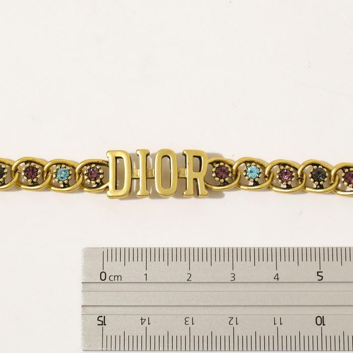 Vintage Letter Color Zirconium Inlaid Bracelet