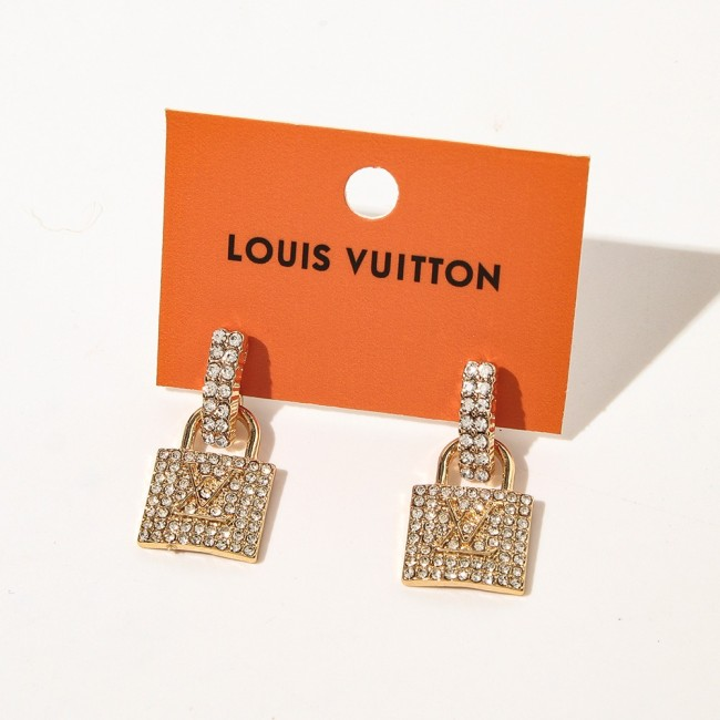 Crystal Diamond Lock Earrings