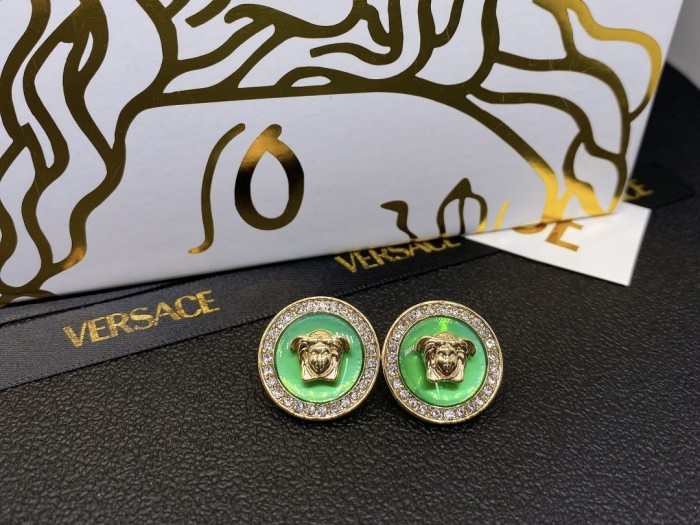 Round Crystal Inlaid Stud Earrings
