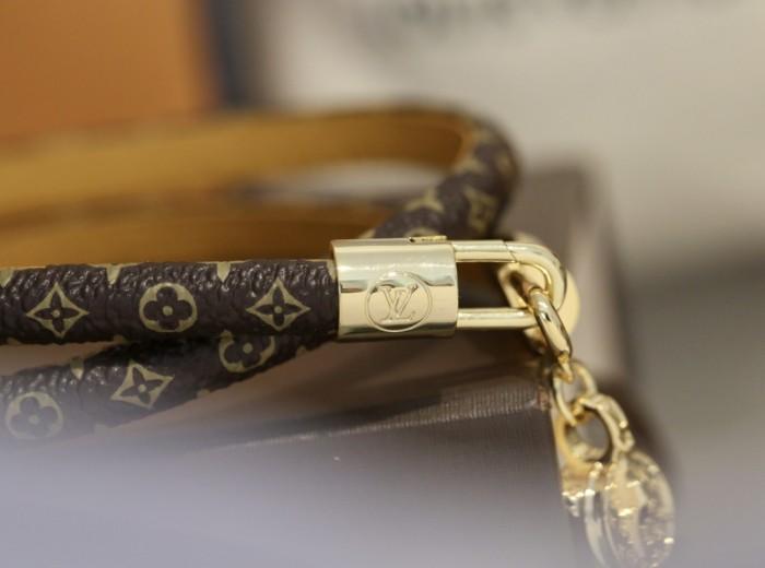 Monogram Hollow Lock Double Ring Leather Bracelet