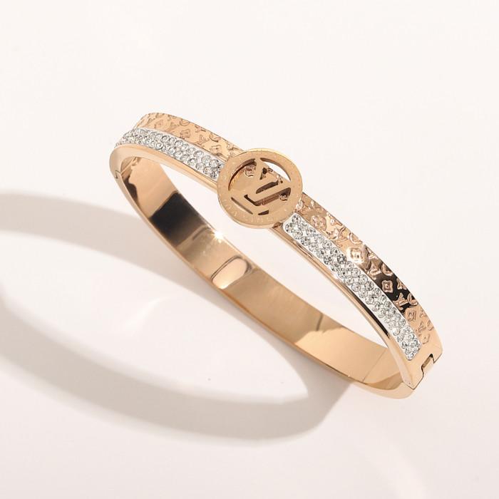 Crystal Inlaid Letter Bracelet