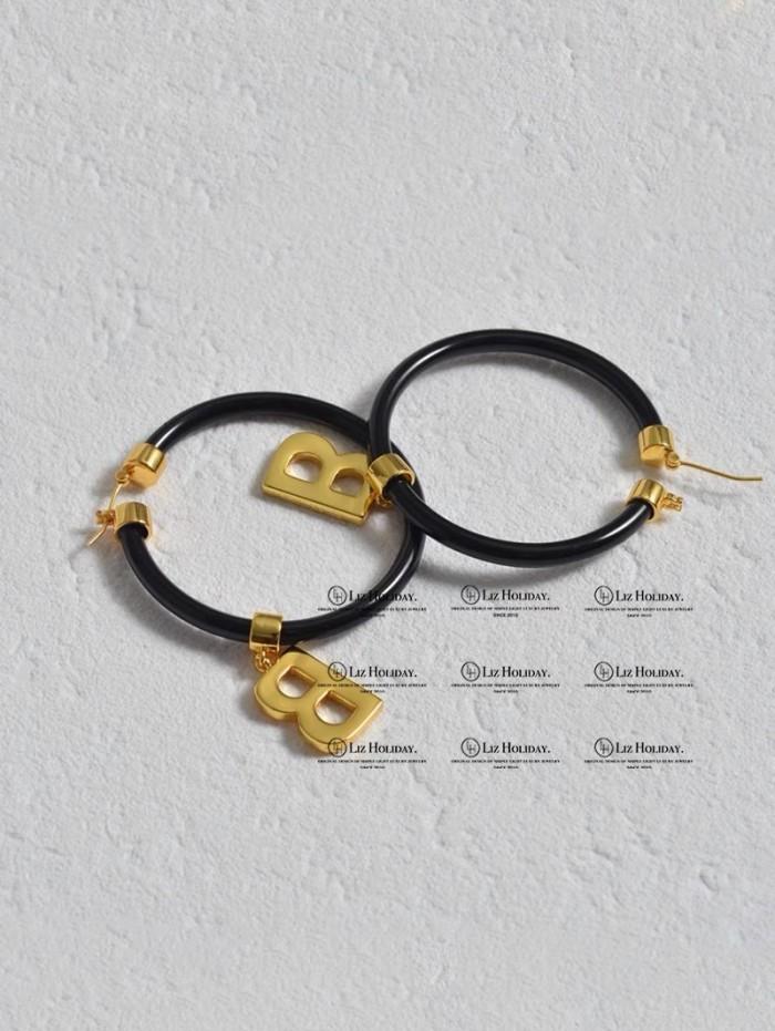 Big Circle B Letter Earrings