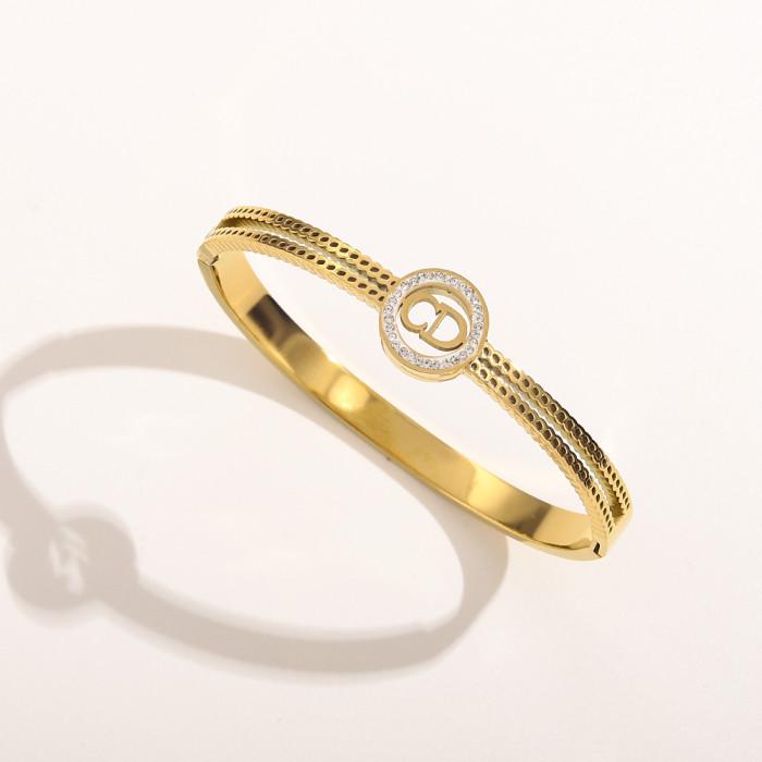 Hollow Diamond Letter Bracelet