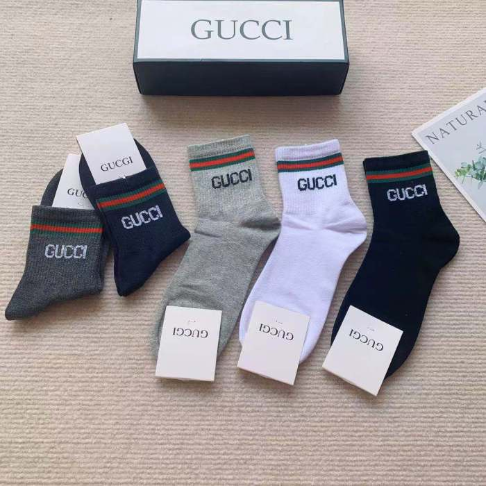 Classic Solid Color Striped Mid-tube Socks