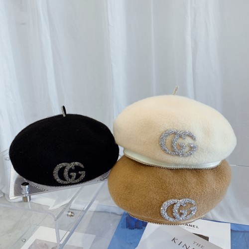 Wool Beret With Rhinestone Letters