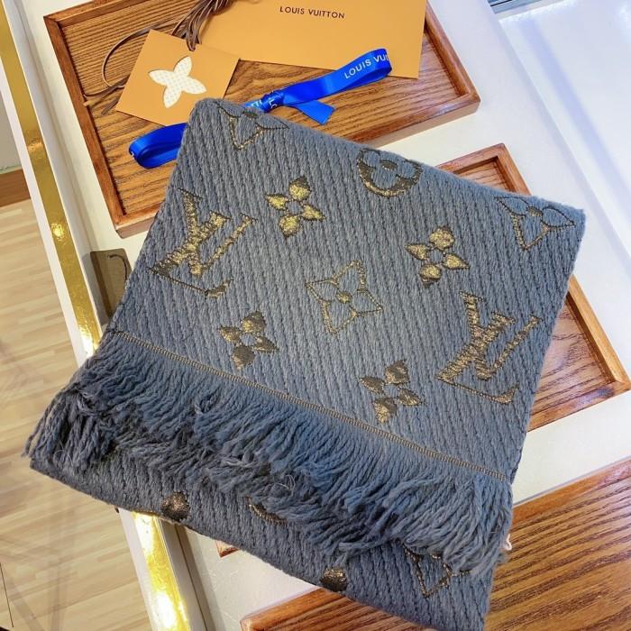 Gold Silk Style Monogram Series Fringed Scarf