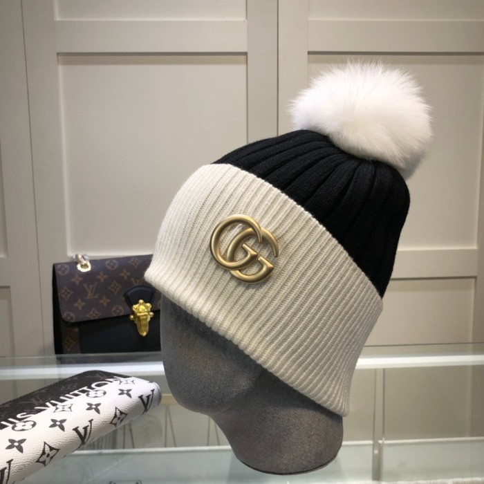 Wool Knitted Hat With Pompon