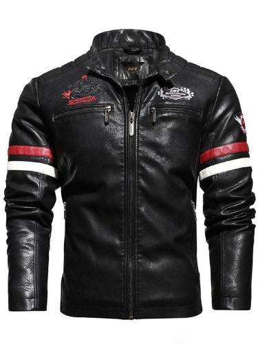 Standard Stand Collar Color Block Pocket Slim Leather Jacket